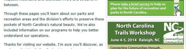 NC STATE PARKS IS ASKING YOUR OPINION – IT'S TIME TO GIVE IT