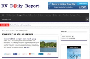 Kerr Lake Park Watch reaches out nationwide in this story on RV Daily Report