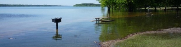 A FEW CAMPERS GET CAMPSITE REPRIEVE FROM HIGH WATER AT KERR LAKE